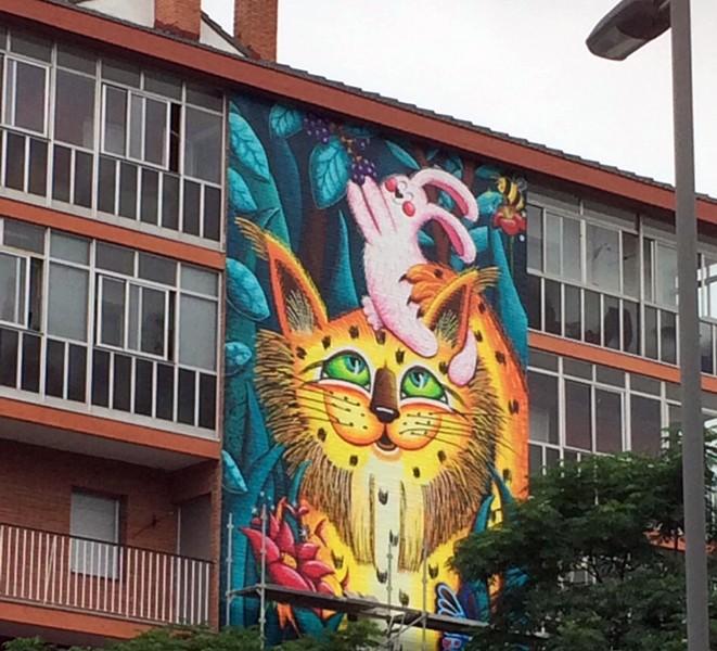 El lince murales con niños Vitoria-Gasteiz con niños