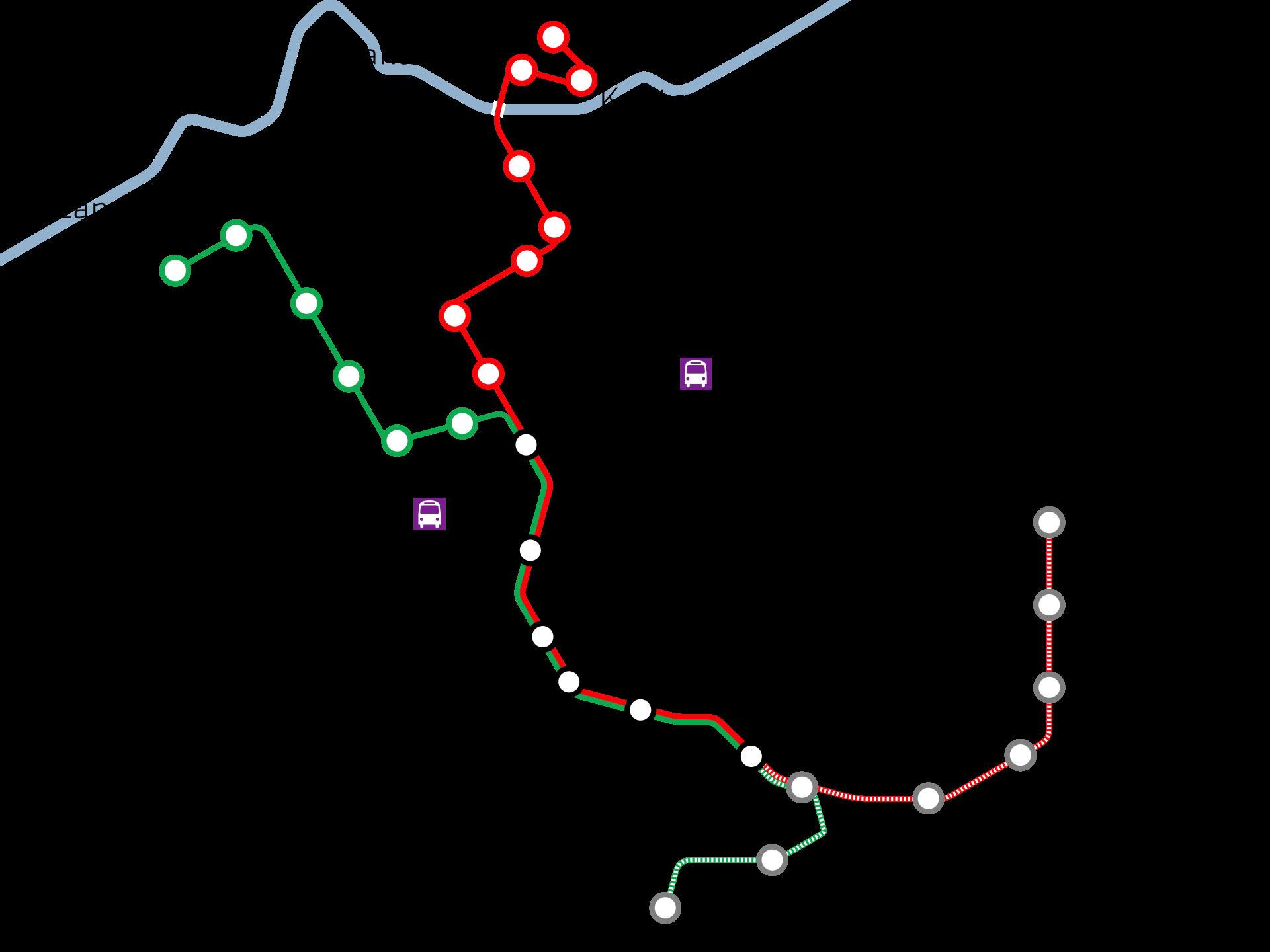 Mapa de las lineas de tranvía en Vitoria-Gasteiz